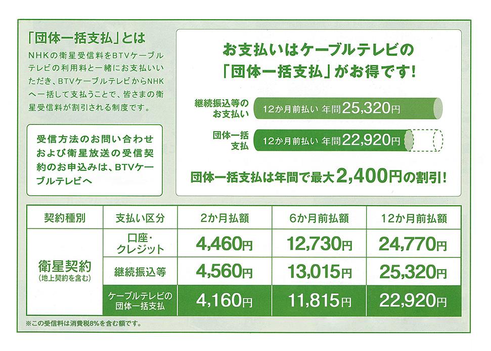 NHK受信料の団体一括支払い