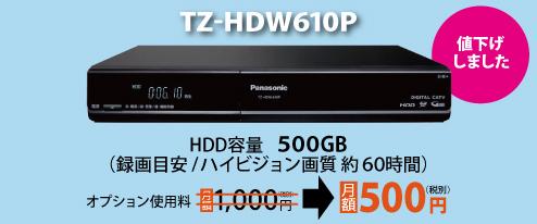 TZ-HDW600P HDD容量 250GB。録画目安、ハイビジョン画質 約23時間、標準画質 約68時間。オプション使用料月額 1,050円(税別)